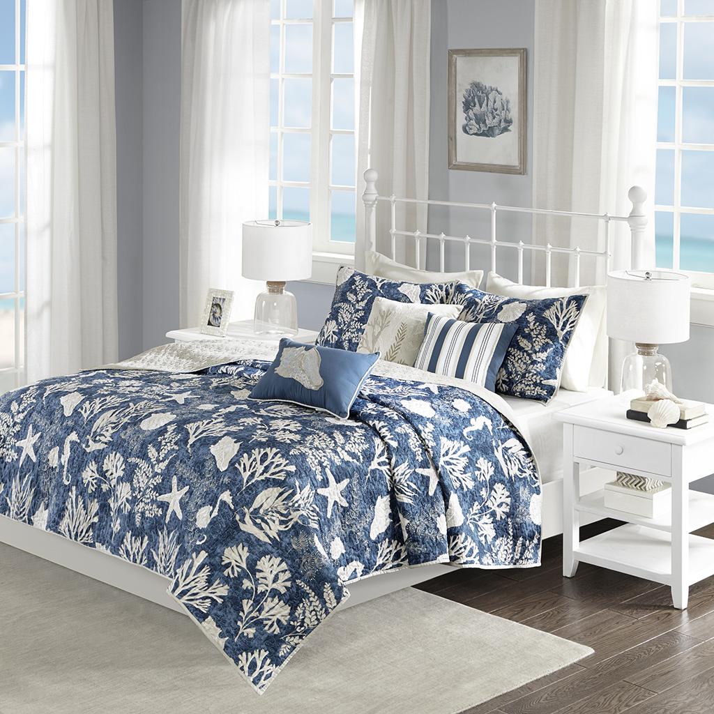 Madison Park - Cape Cod 6 Piece Reversible Cotton Sateen Coverlet Set - Blue - King/Cal King