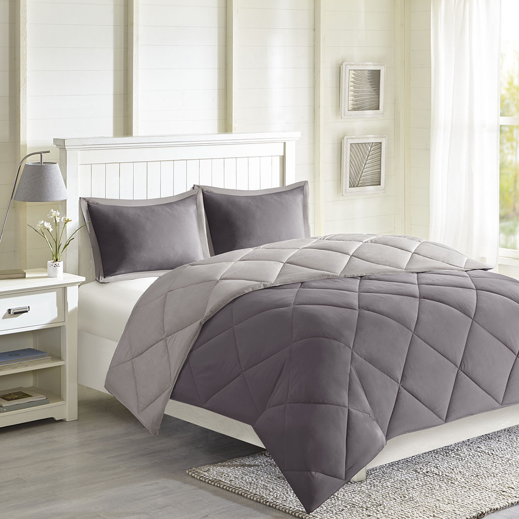 Madison Park Essentials - Larkspur 3M Scotchgard Diamond Quilting Reversible Down Alternative Comforter Set - Charcoal/Grey - Full/Queen