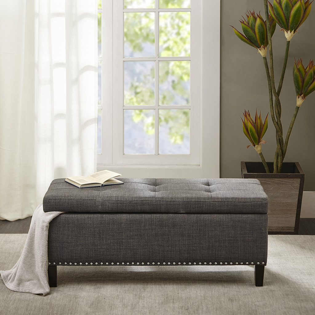 Madison Park - Shandra II Tufted Top Storage Bench - Charcoal - See below