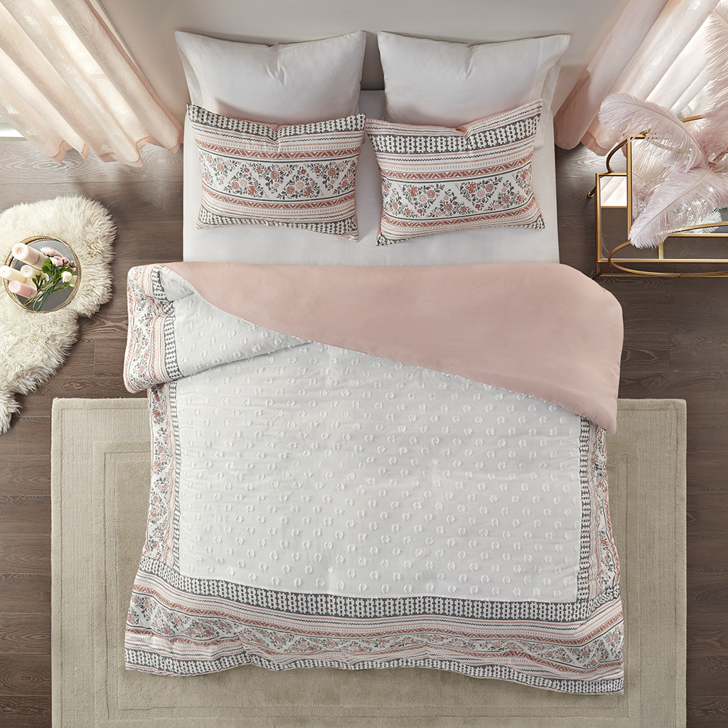 Madison Park - Moria 3 Piece Cotton Printed Clip Jacquard Duvet Cover Set - Dusty Rose / White - King/Cal King