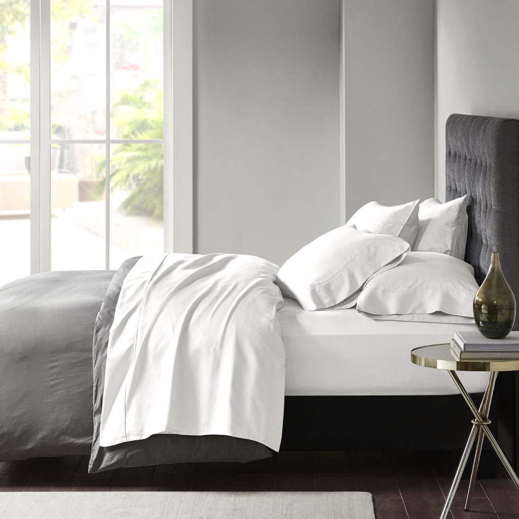 Madison Park - 800 Thread Count Cotton Blend Sateen Sheet Set - White - Queen