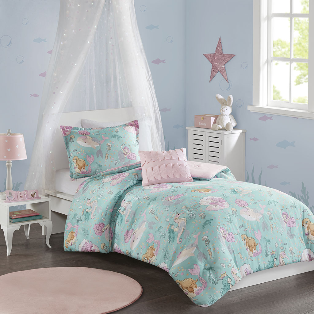 Mi Zone Kids - Darya Printed Mermaid Comforter Set - Aqua/Pink - Twin