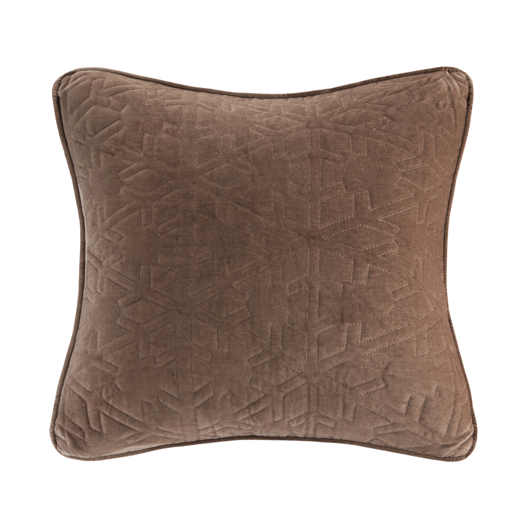 Madison Park - Quilted Snowflake Square Pillow Square Pillow - Brown - 20x20