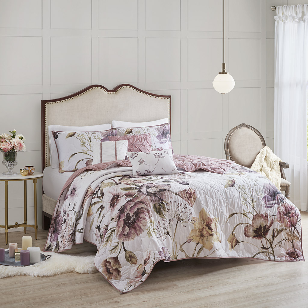 Madison Park - Cassandra 6 Piece Floral Print Reversible Cotton Quilted Coverlet Set - Blush - Full/Queen