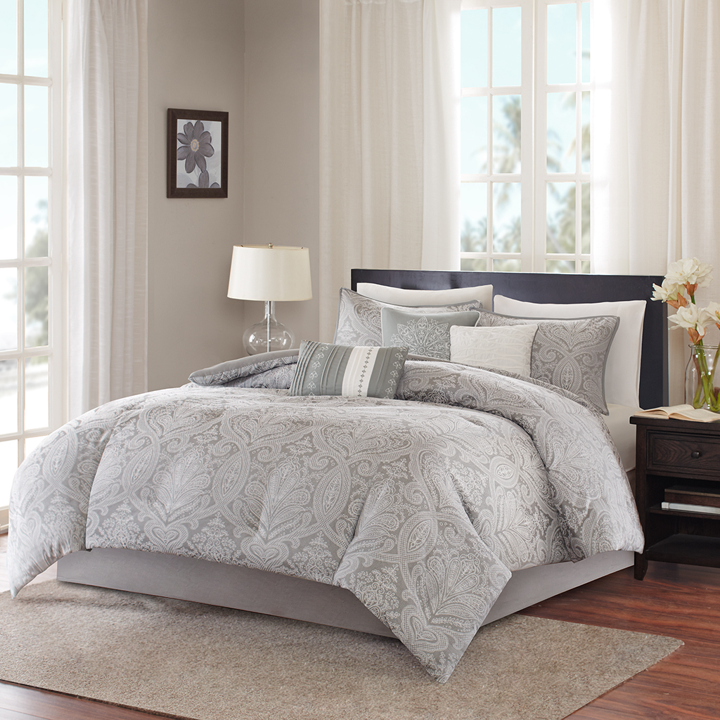 Madison Park - Averly 7 Piece Comforter Set - Grey - Cal King