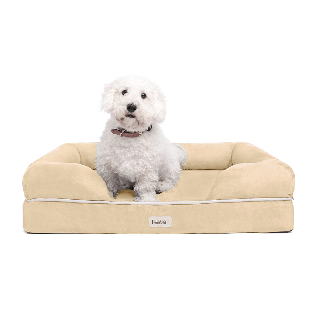 Friends Forever - Chester Pet Couch with Solid Memory Foam - Vanilla - 28x36+9