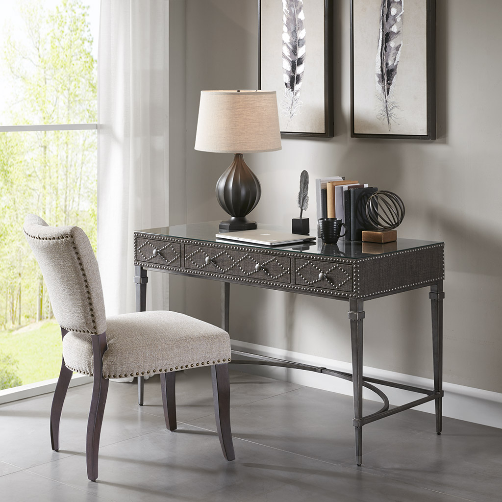 Madison Park - Senna 3 Drawers Study Writing Desk with Glass Top and Metal Legs - Grey - See below