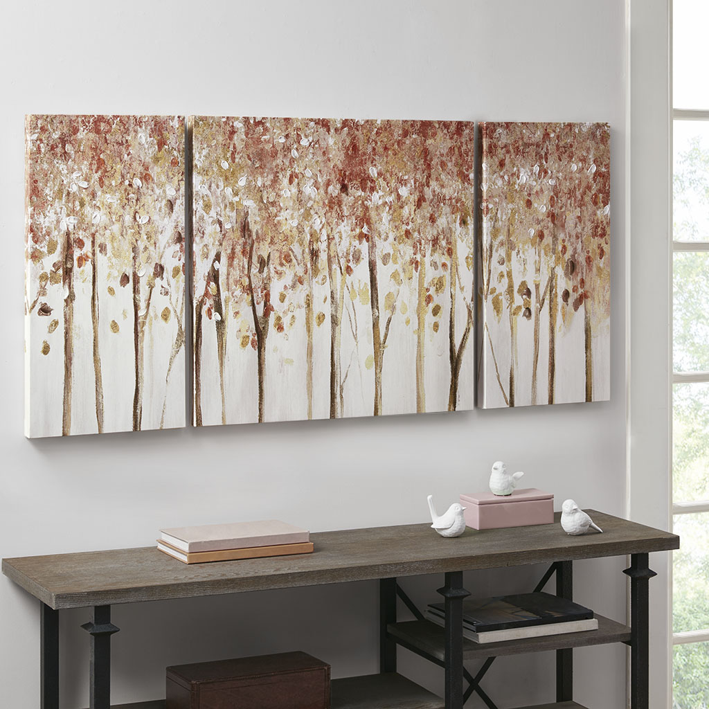 Madison Park - Autumn Forest 3 Piece Canvas Art Palette Knife Embellishment - Red - See below