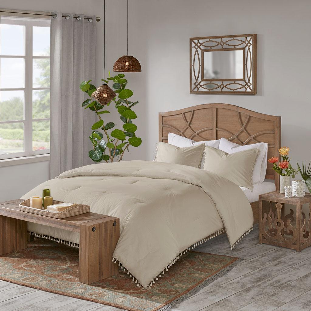 Madison Park - Lillian 3 Piece Cotton Comforter Set - Taupe - King/Cal King