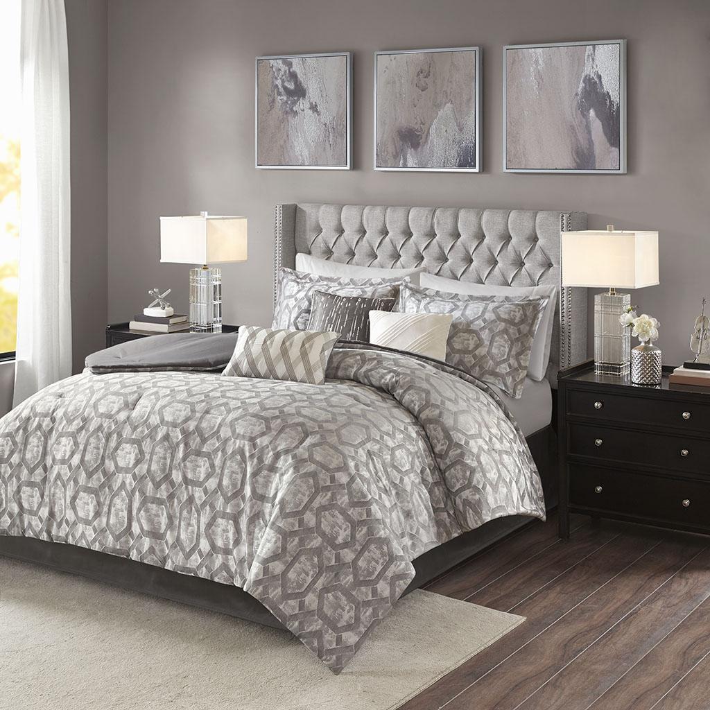 Madison Park - Savannah 7 Piece Jacquard Comforter Set - Grey - King