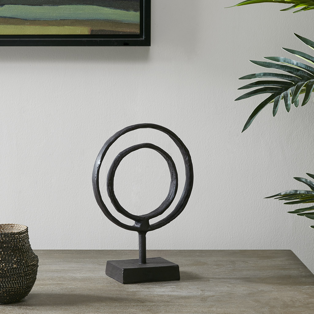 Madison Park - Mara Ring Object Decor - Black - Small Material: Aluminum