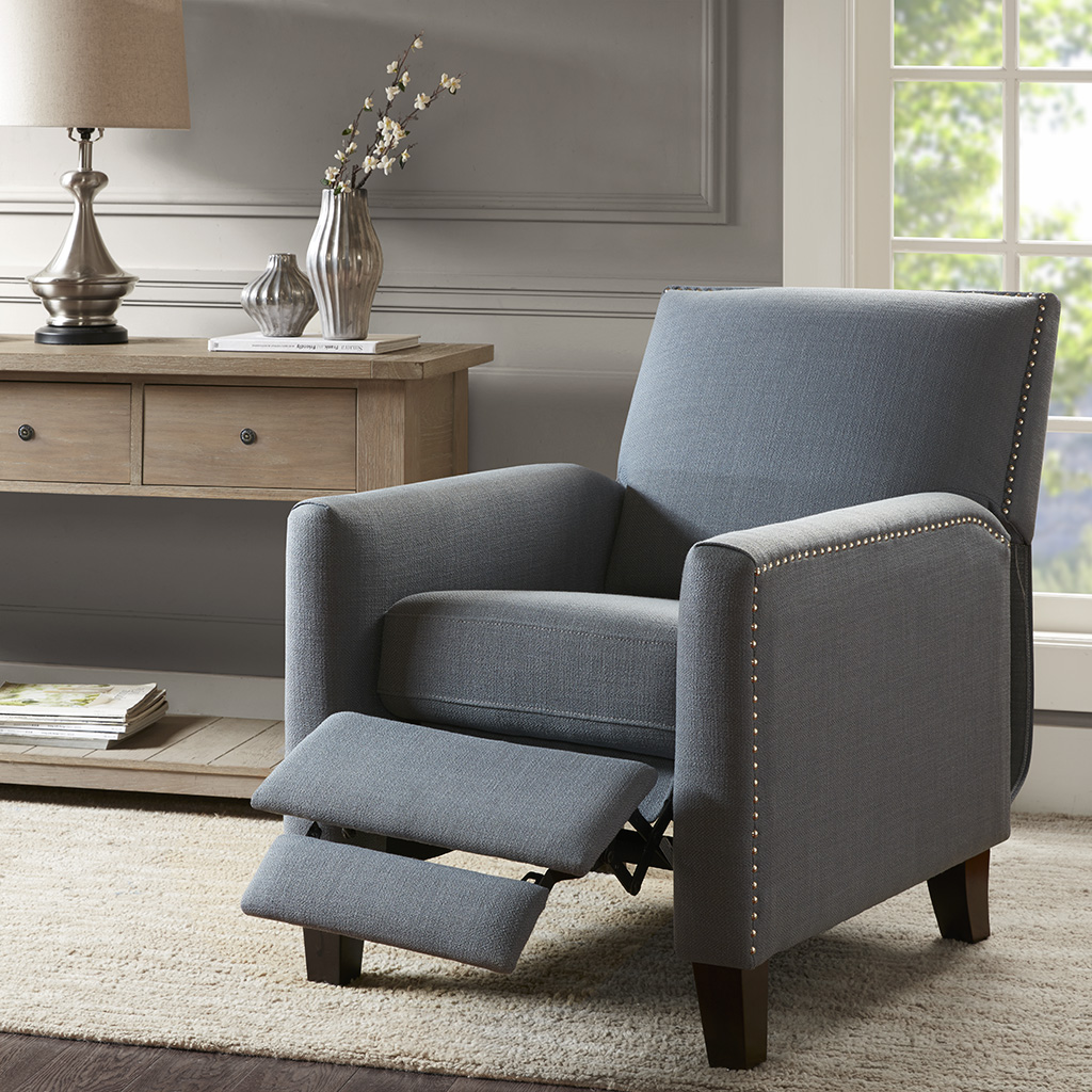 Madison Park - Miles Push Back Recliner - Blue - See below