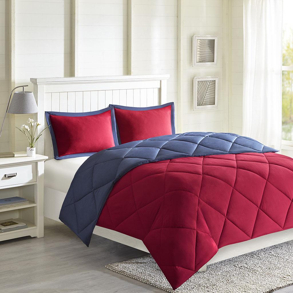 Madison Park Essentials - Larkspur 3M Scotchgard Diamond Quilting Reversible Down Alternative Comforter Set - Red/Navy - King