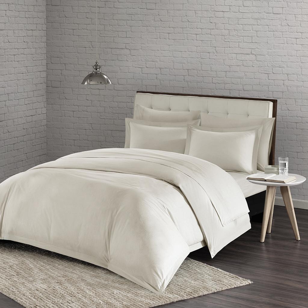 Urban Habitat - Comfort Wash Cotton Duvet Cover Mini Set - Ivory - Full/Queen