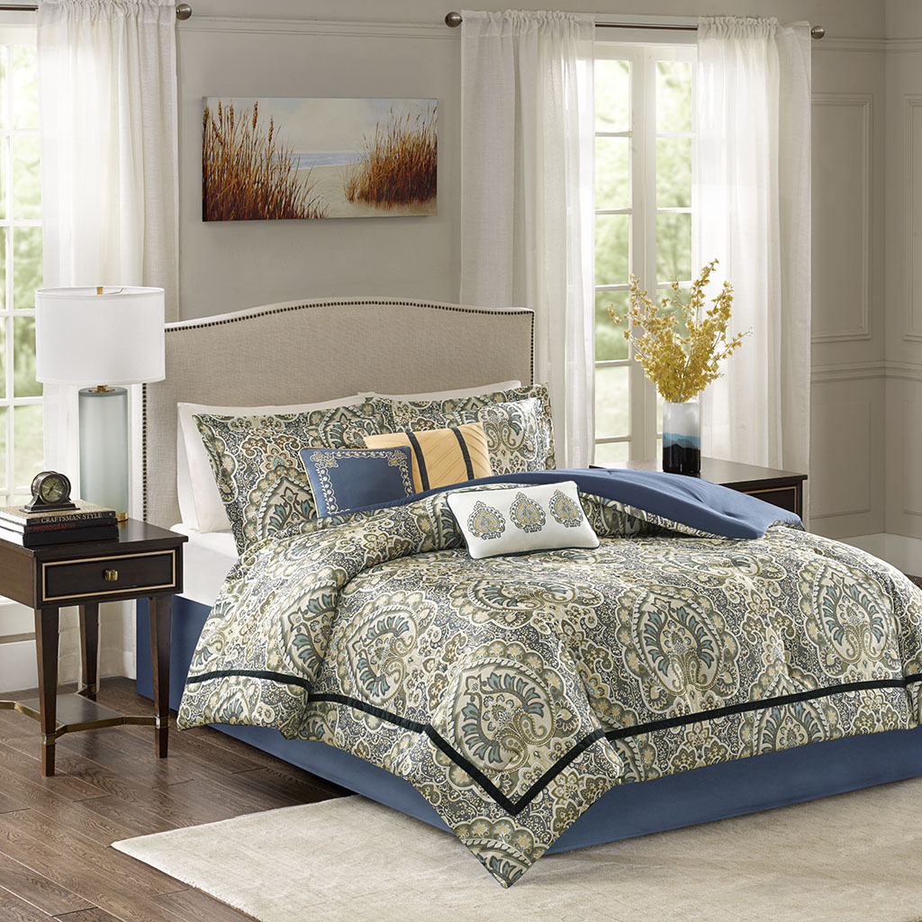 Madison Park - Cameron 7 Piece Charmeuse Comforter Set - Teal - Queen