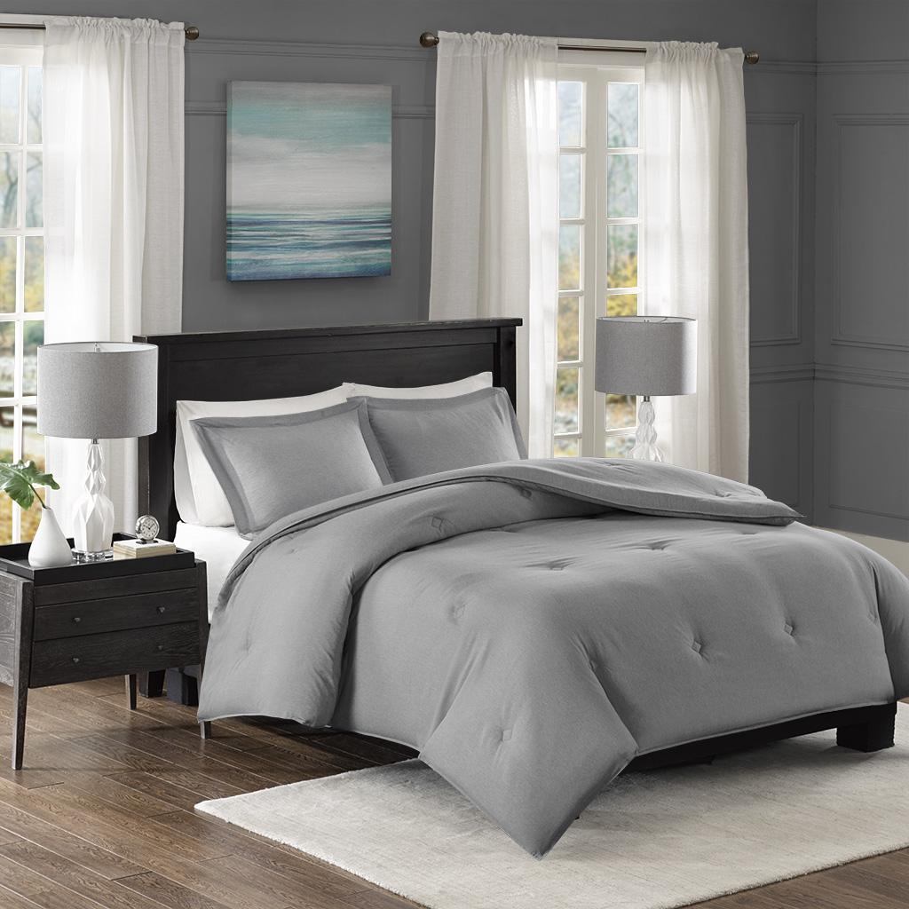 Madison Park Essentials - Clay Yarn-Dyed Heather Weave Microfiber Down Alternative Comforter Mini Set - Grey - Full/Queen
