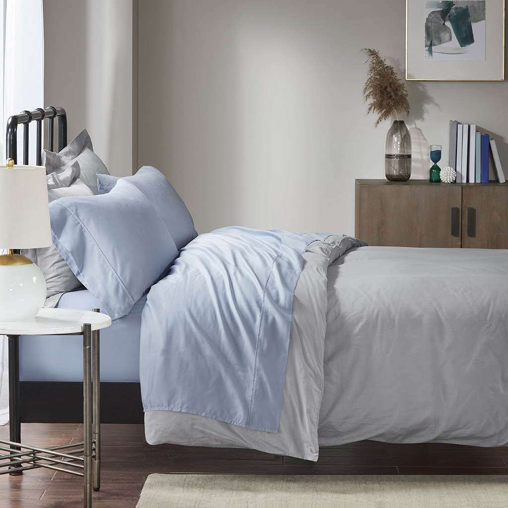 Madison Park - 1500 Thread Count Cotton Rich Sheet Set - Blue - Cal King