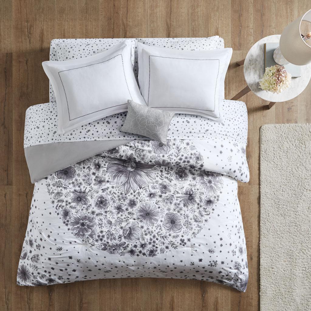 Intelligent Design - Emma Comforter and Sheet Set - Grey - Queen