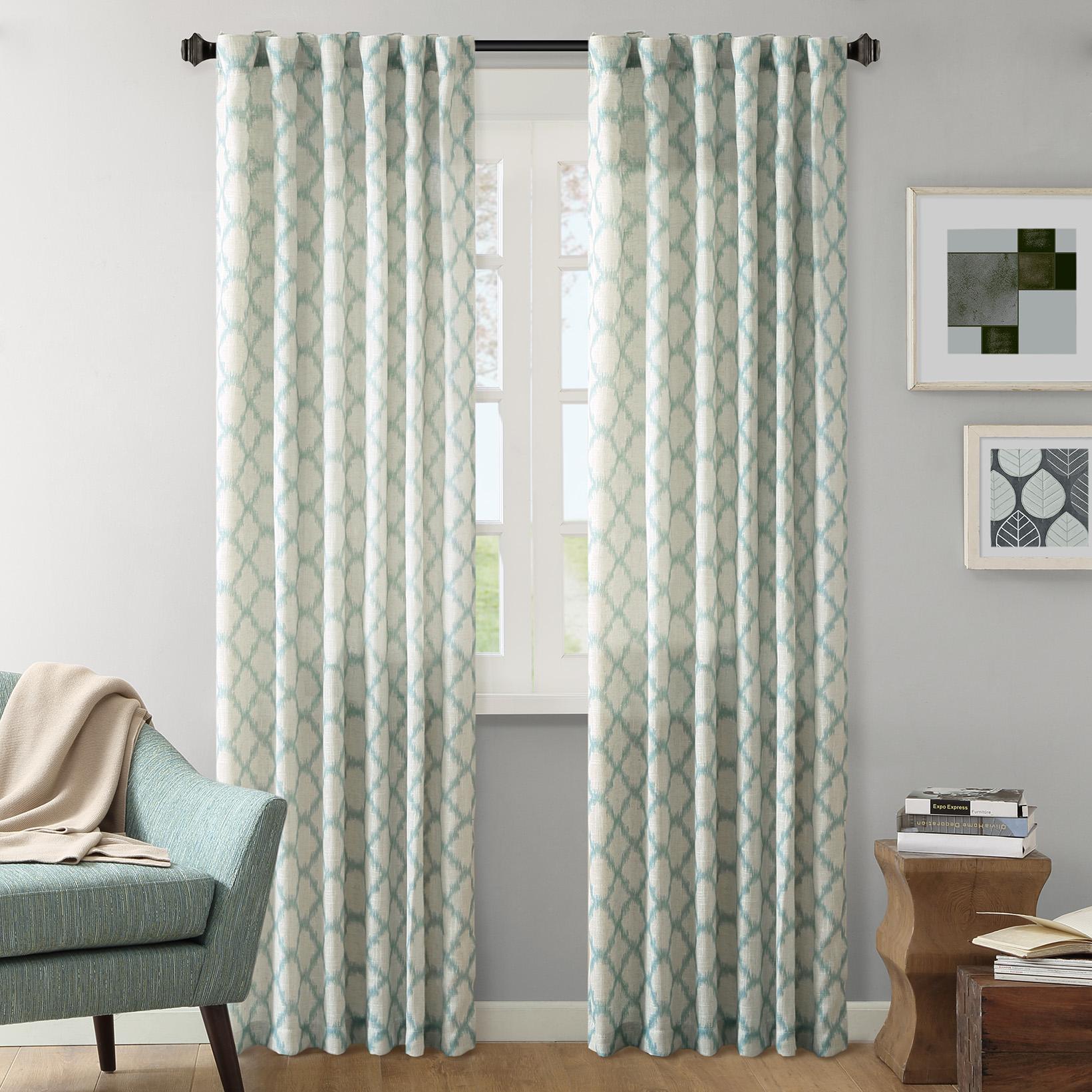 """INK+IVY - Nakita Window Curtain - Aqua - 95"""" Panel"""