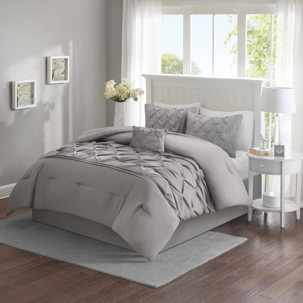 Comfort Spaces - Cavoy 5 Piece Tufted Comforter Set - Grey - King