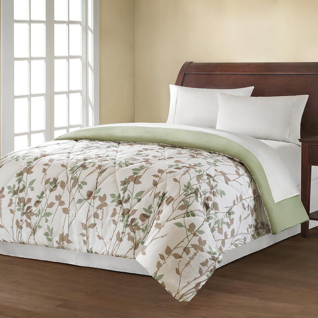Avenue 8 - MS Vine Microfiber Printed Comforter - White - Twin/Twin XL