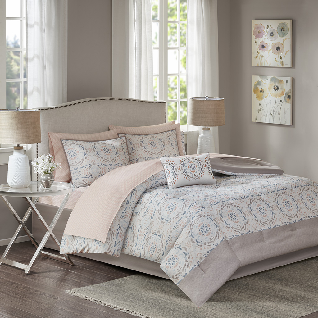 Madison Park Essentials - Voss Complete Comforter and Cotton Sheet Set - Blush - Cal King