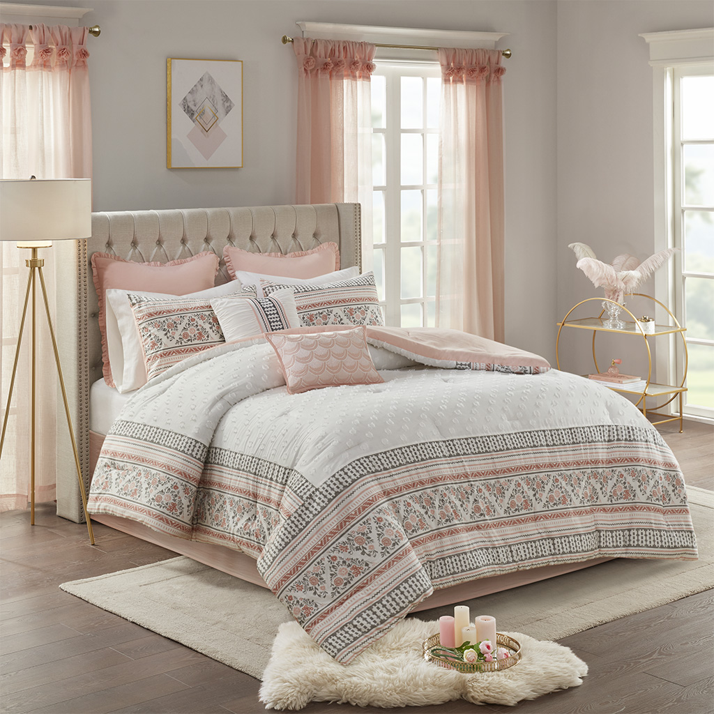 Madison Park - Moria 8 Piece Cotton Printed Clip Jacquard Comforter Set - Dusty Rose / White - Cal King