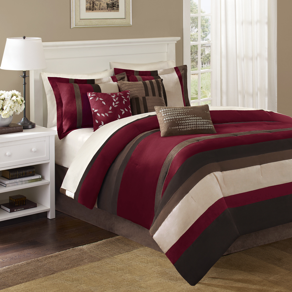 Madison Park - Boulder Stripe 7 Piece Comforter Set - Red - Cal King