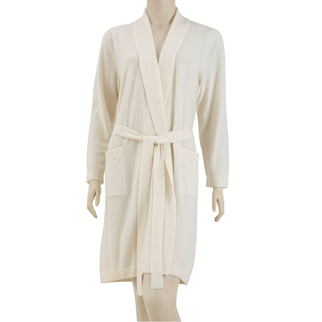 Madison Park Signature - Luxury Cashmere Robe - Ivory - L/XL