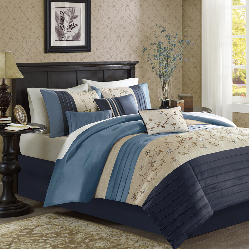Madison Park - Serene Embroidered 7 Piece Comforter Set - Navy - Cal King