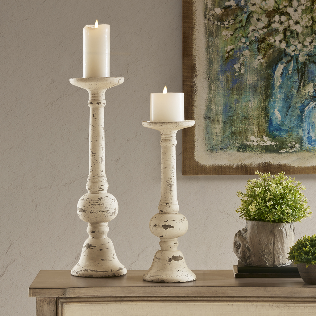 Madison Park - Tivoli Cement Candleholder - White - Large cement, White