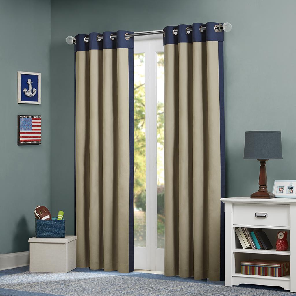 "Mi Zone - Liam Window Curtain - Blue - 63"" Panel"