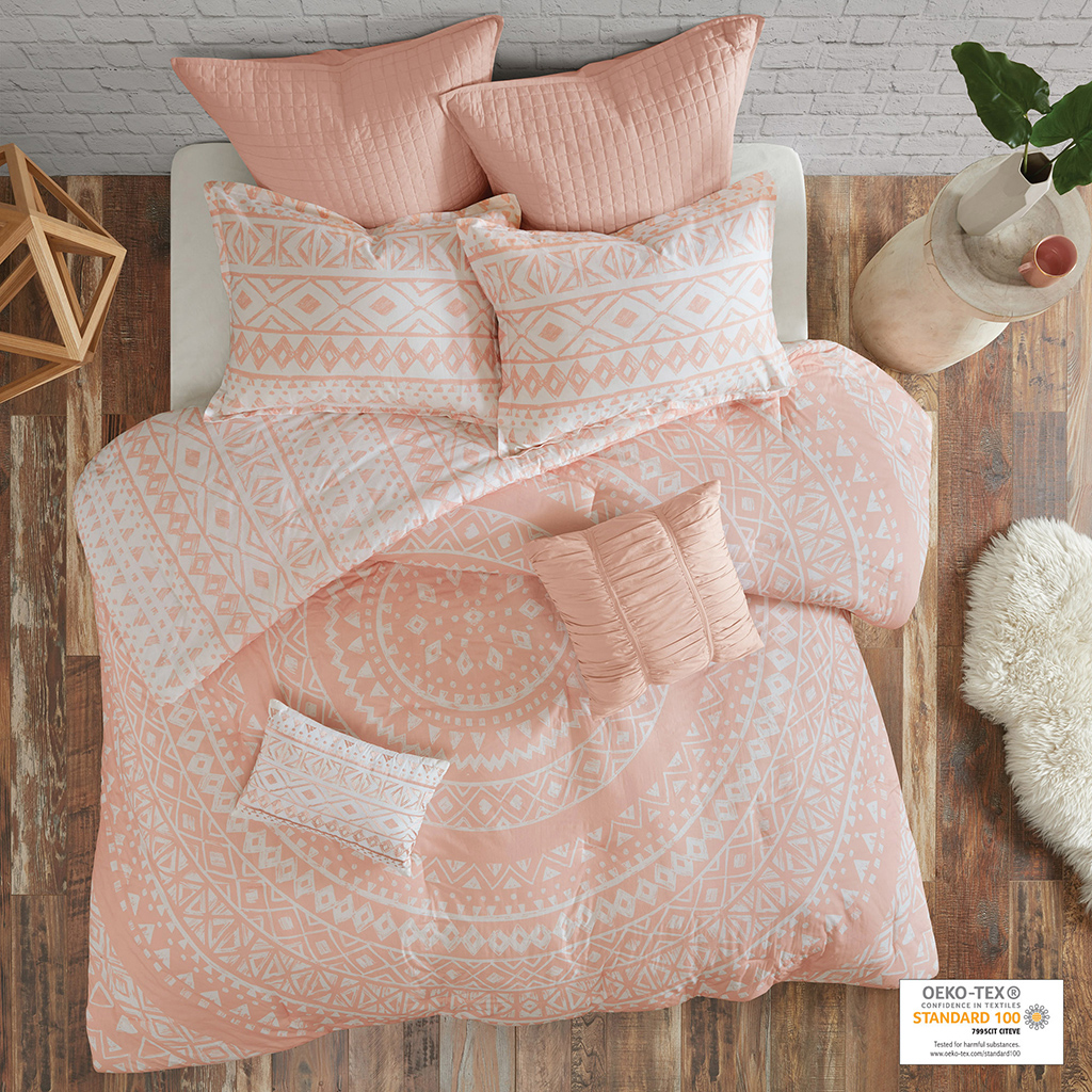 Duvet/Sham: 100% cotton percale printed face and reverse. Button closure. With 4 inner corner ties.   Pillow: 100% cotton percale shell and polyester filling; Euro sham: 100% cotton with quilted top.