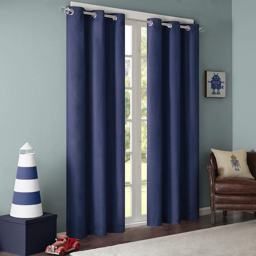 "Mi Zone - Cobi Solid Grommet Top Curtain - Blue - 63"" Panel"