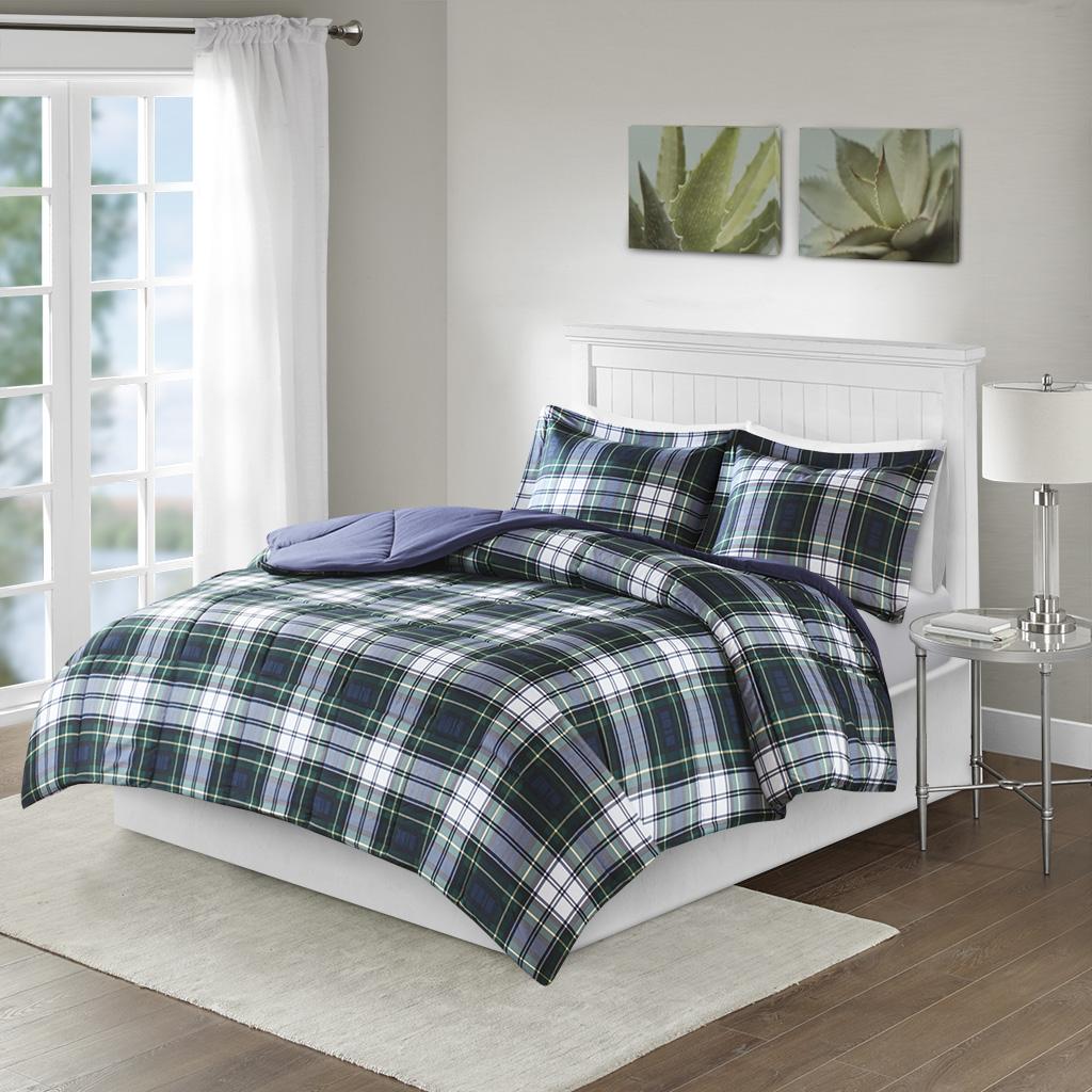 Madison Park Essentials - Parkston 3M Scotchgard Down Alternative All Season Comforter Set - Navy - Full/Queen