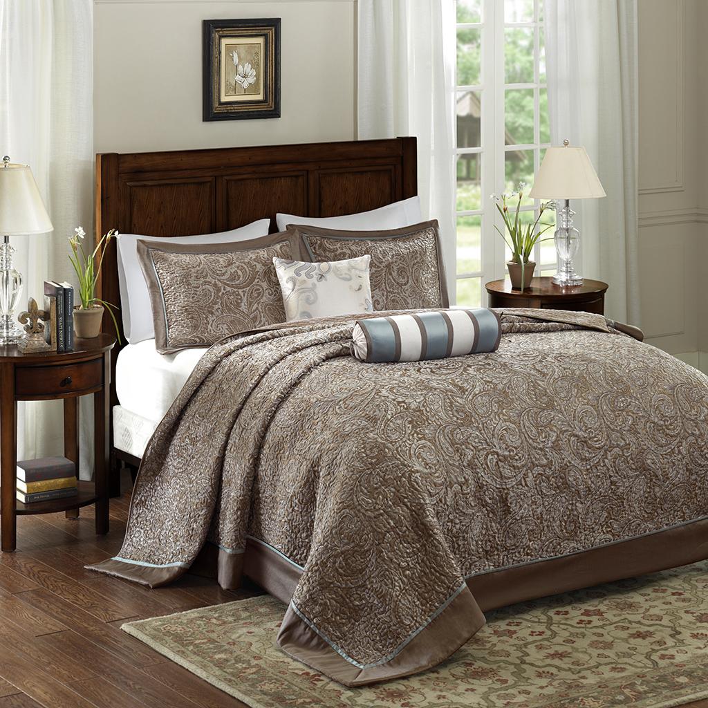 Madison Park - Aubrey 5 Piece Reversible Jacquard Bedspread Set - Blue - King