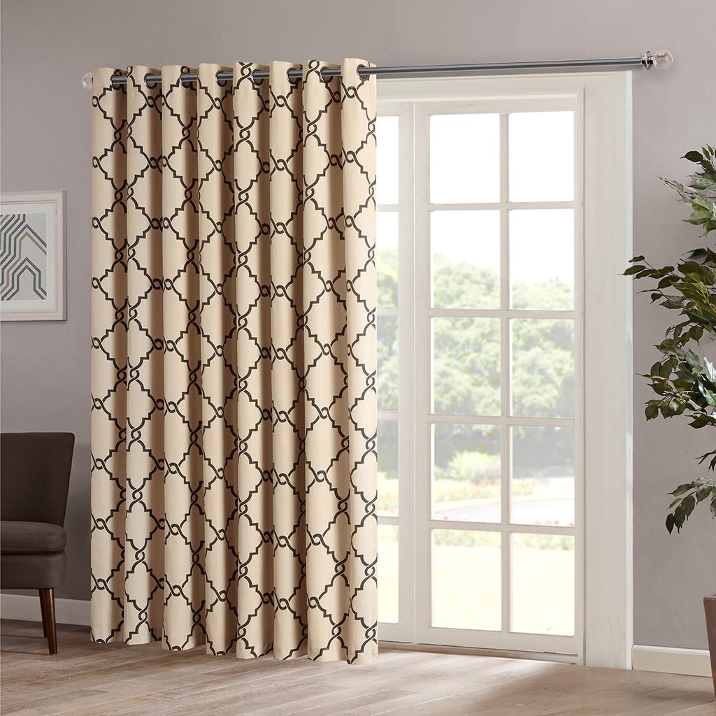 "Madison Park - Saratoga Fretwork Print Patio Window Curtain - Khaki - 84"" Panel"