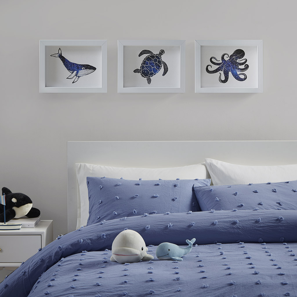 Urban Habitat - Under the Sea Framed Shadowbox Art 3 Piece Set - Blue - See below