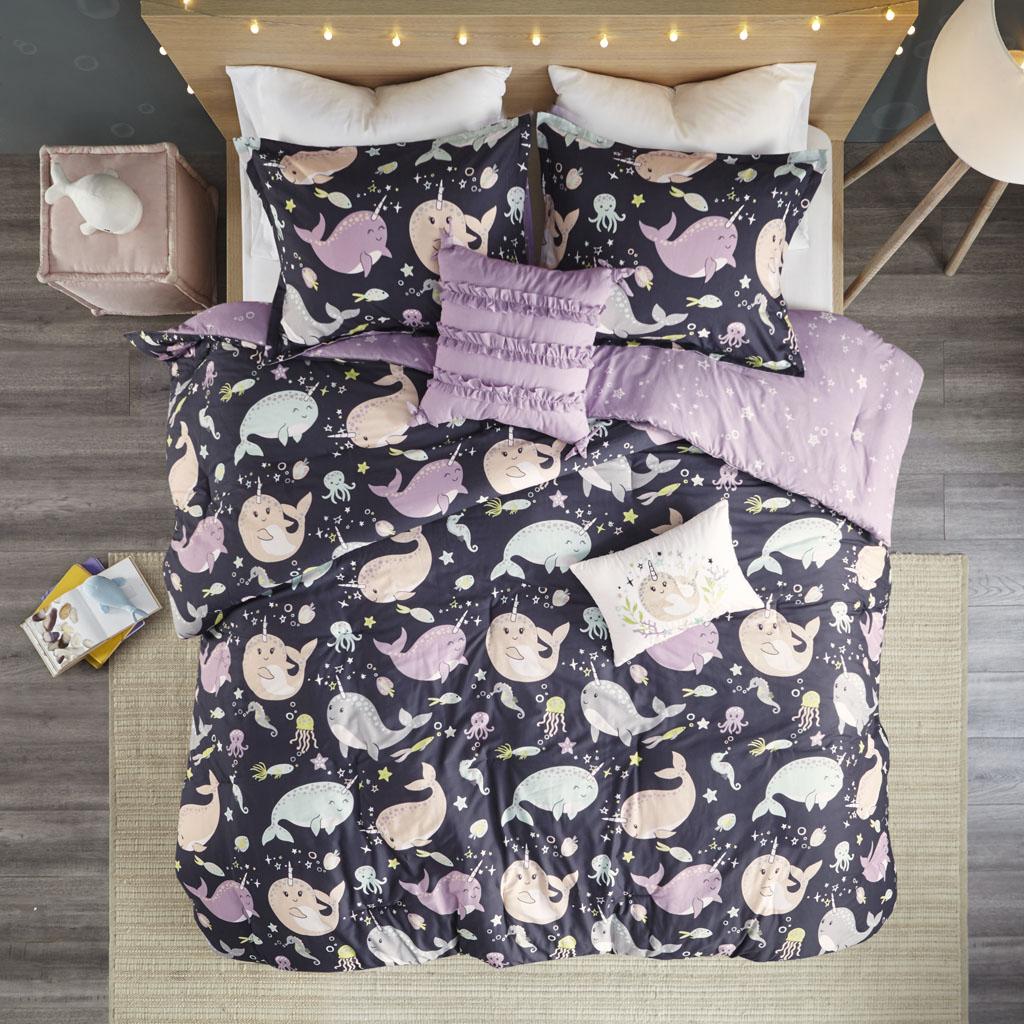 Urban Habitat Kids - Magical Narwhals Cotton Reversible Comforter Set - Purple Multi - Full/Queen