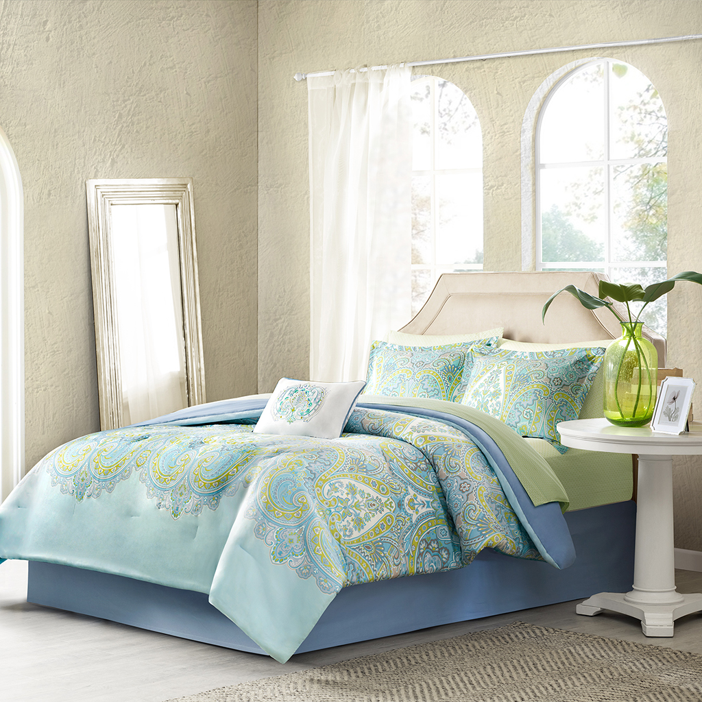 Madison Park Essentials - Celeste Complete Comforter and Cotton Sheet Set - Aqua - Queen