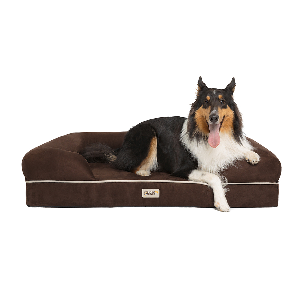 Friends Forever - Chester Pet Couch with Solid Memory Foam - Brown - 44x34+10