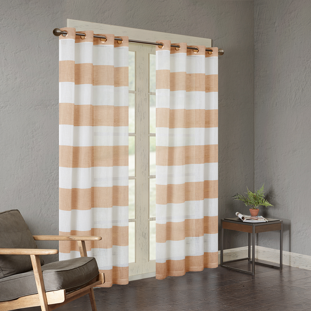 "Urban Habitat - Mason Yarn Dyed Woven Sheer Window Panel - Orange - 84"" Panel"