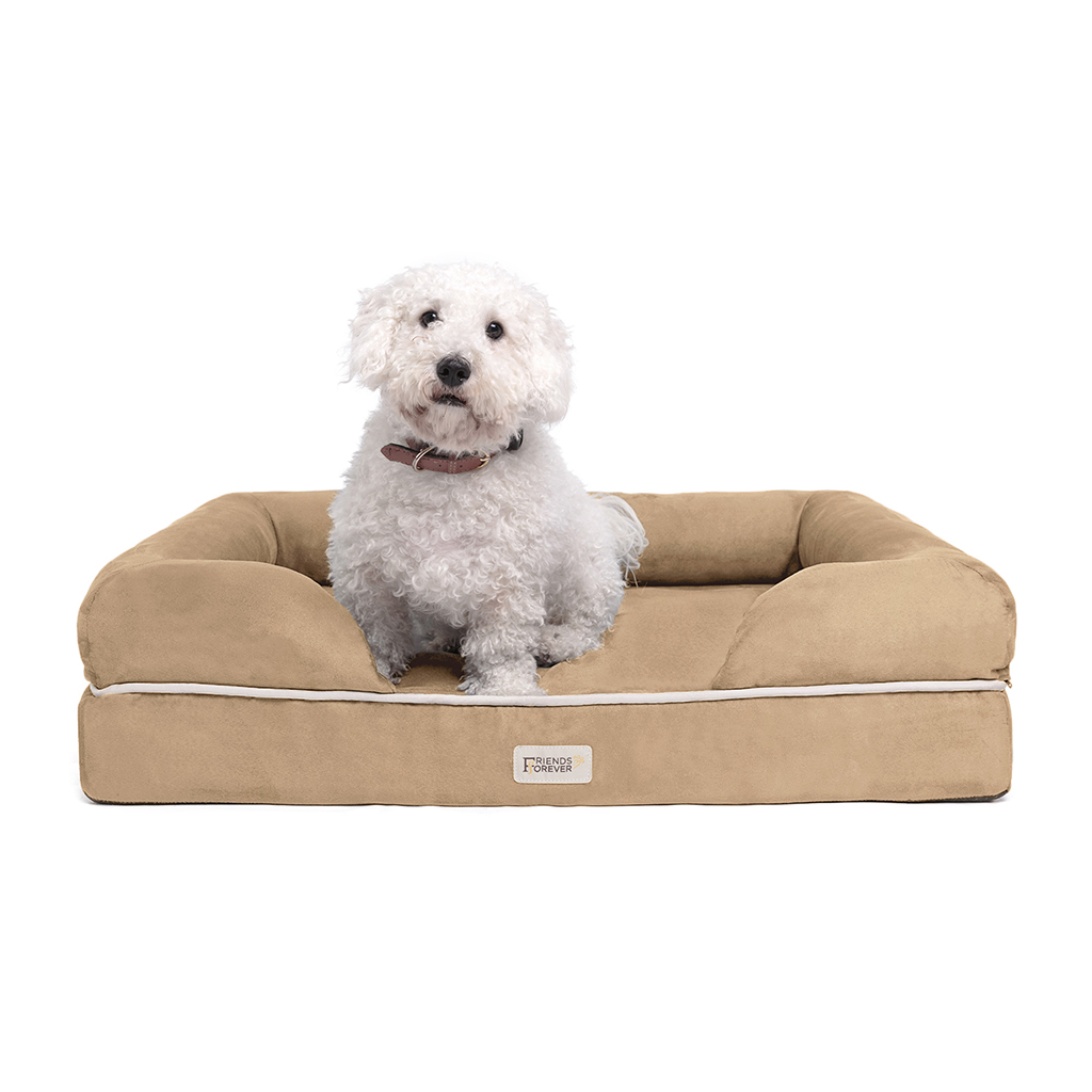 Friends Forever - Chester Pet Couch with Solid Memory Foam - Khaki - 28x36+9