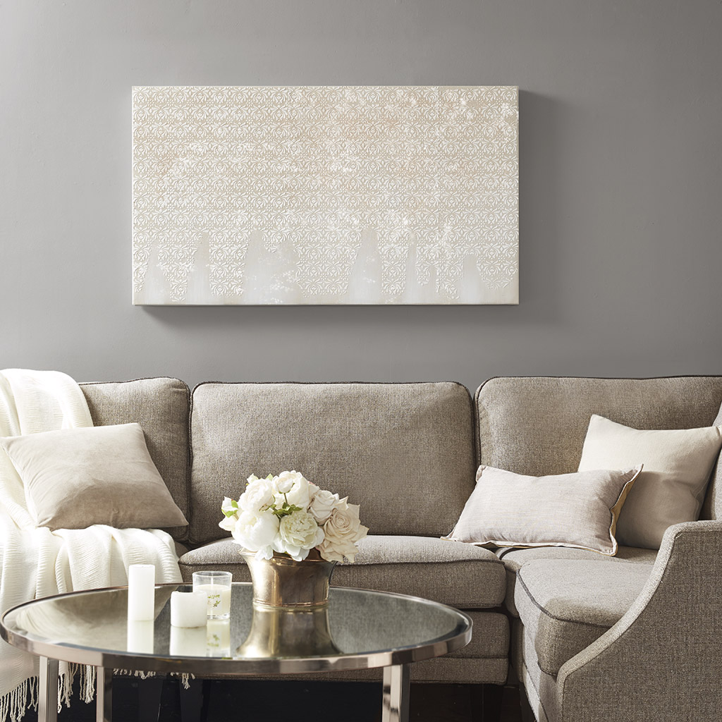 Madison Park - Floral Cascade Heavy Textured Canvas with Glitter Embellishment - Neutral - See below