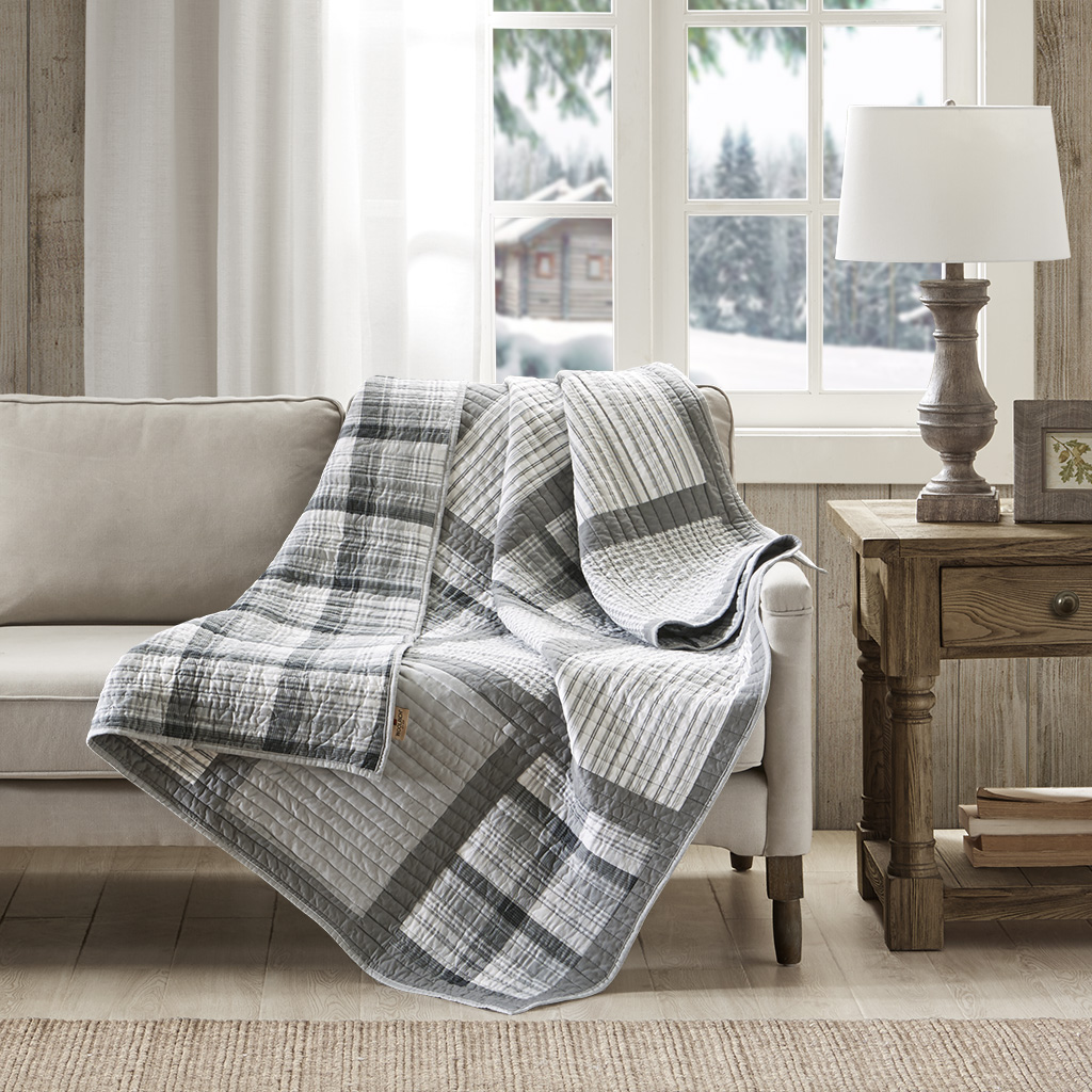 Woolrich - Huntington Oversized Cotton Quilted Throw - Gray - 50x70