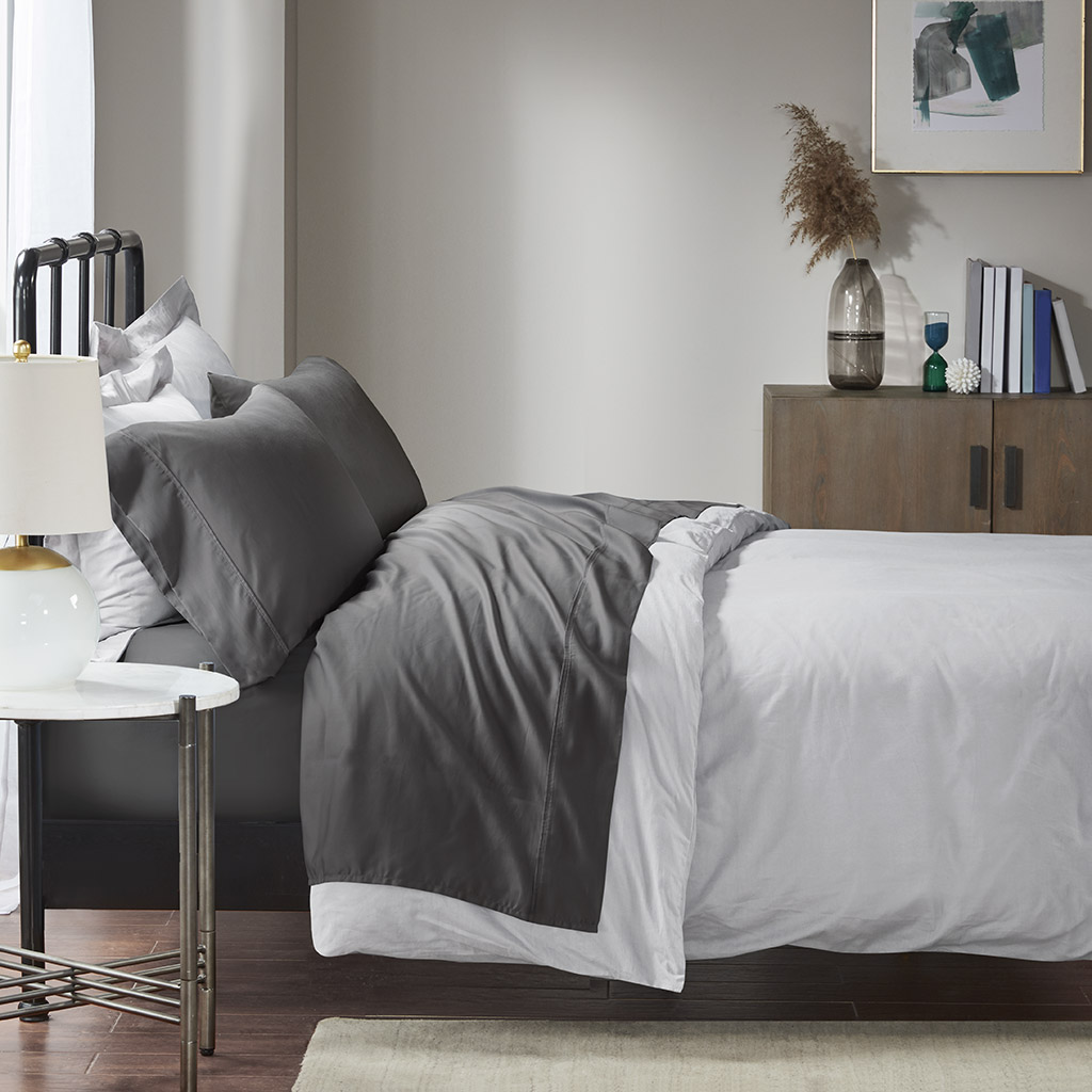 Madison Park - 1500 Thread Count Cotton Rich Sheet Set - Charcoal - King