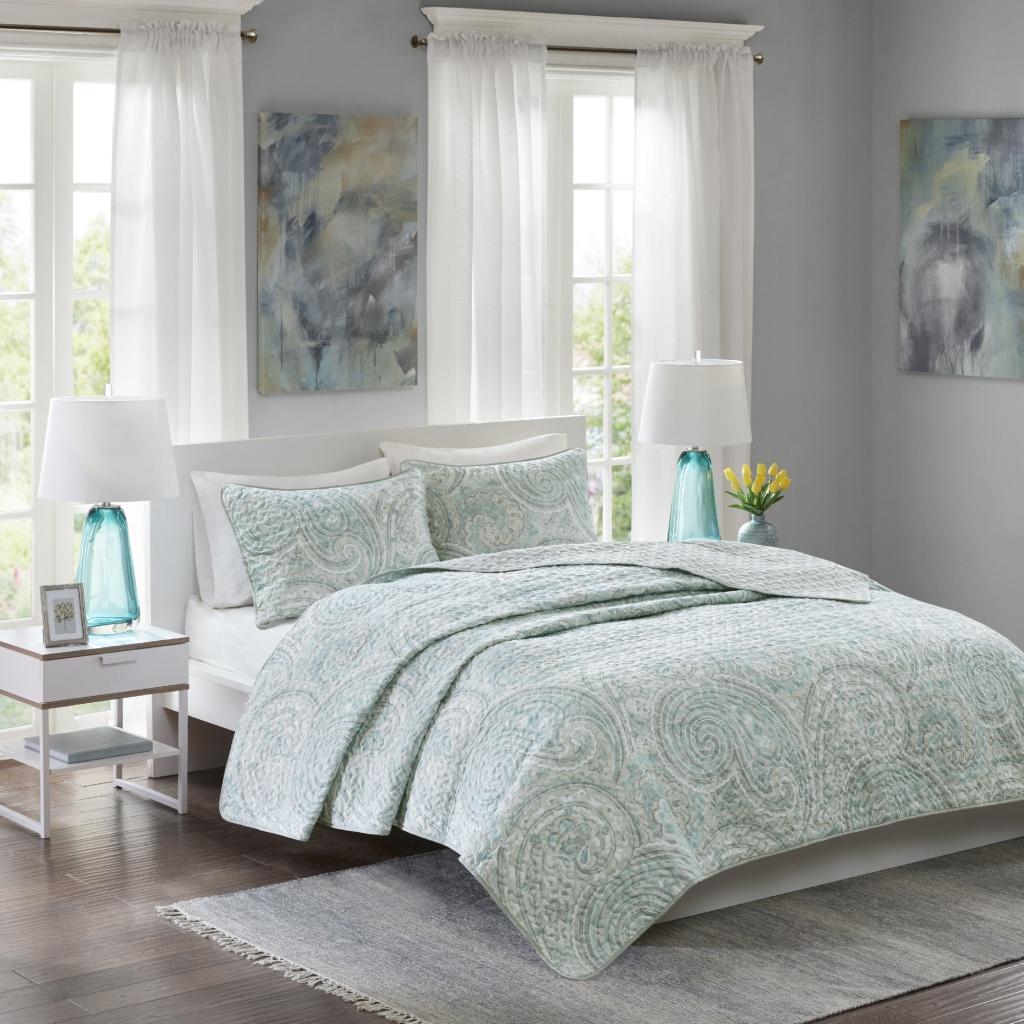 Comfort Spaces - Kashmir Mini Quilt Set - Blue/Grey - King