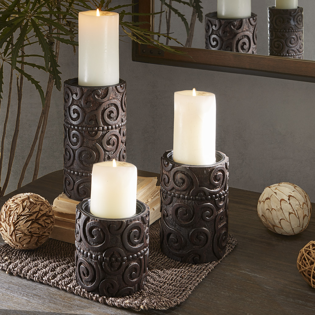 INK+IVY - Pacheco Candle Holder - Brown - Small