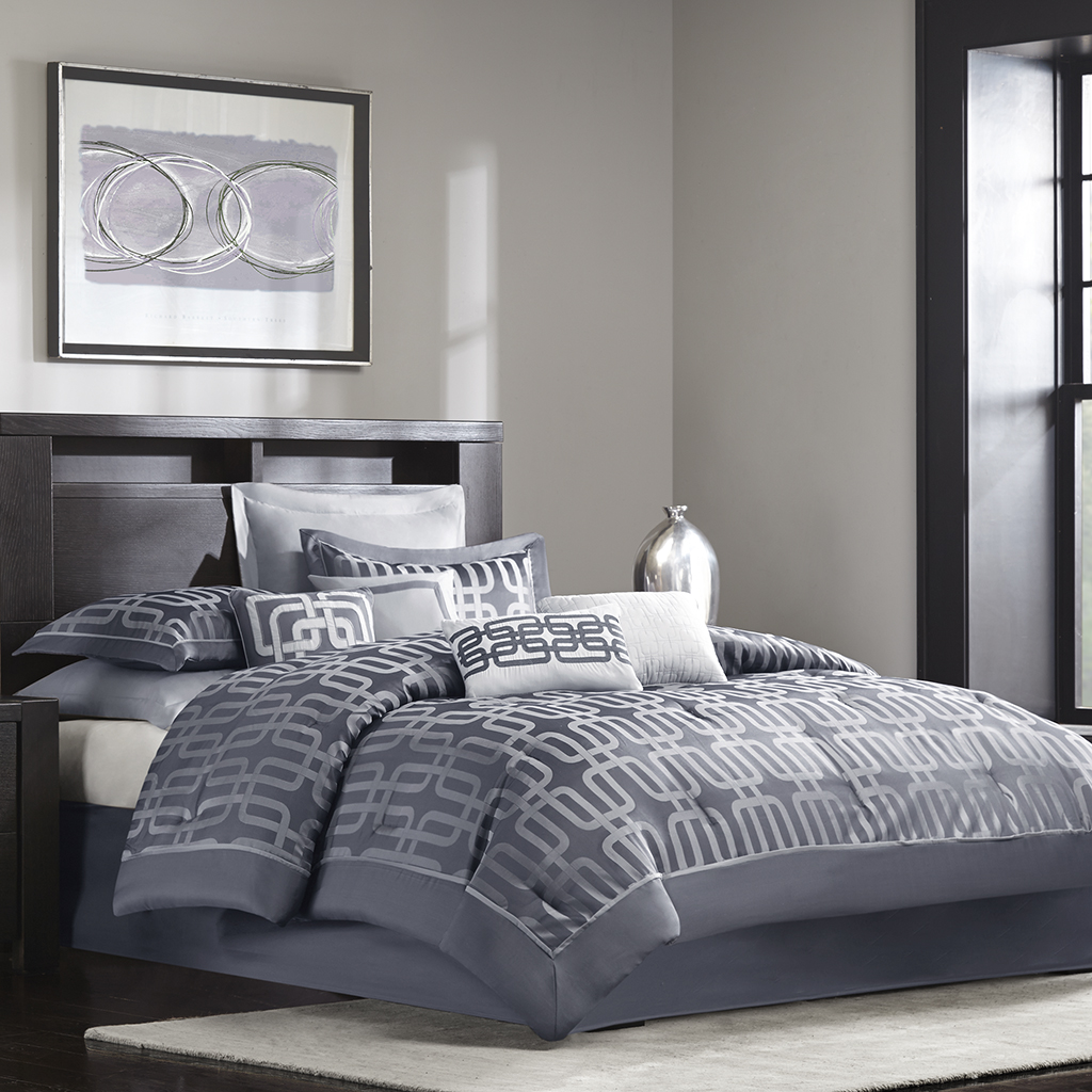 Madison Park - Gaven 10 Piece Comforter Set - Charcoal - King