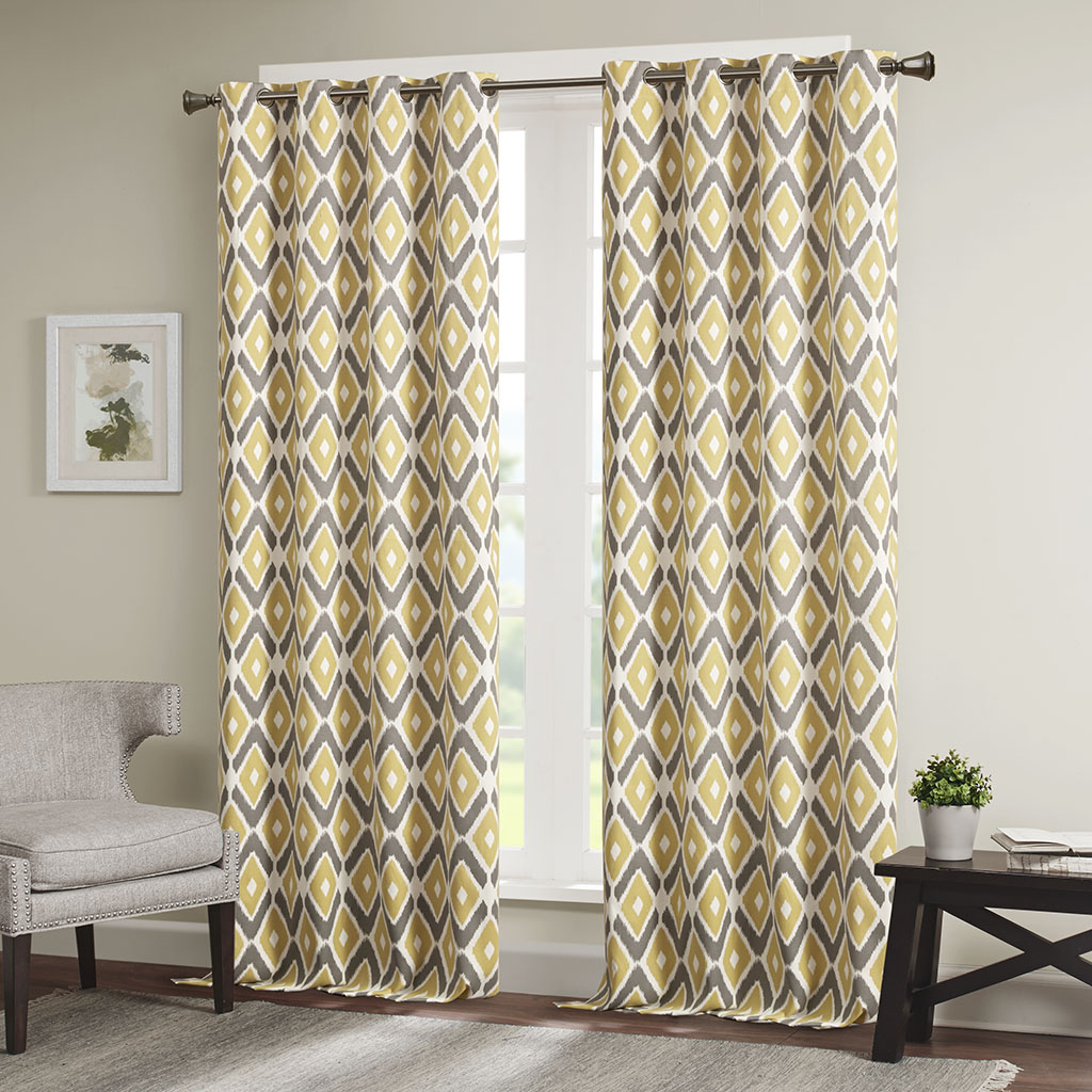 "Madison Park - Ashlin Diamond Printed Window Curtain - Yellow - 108"" Panel"